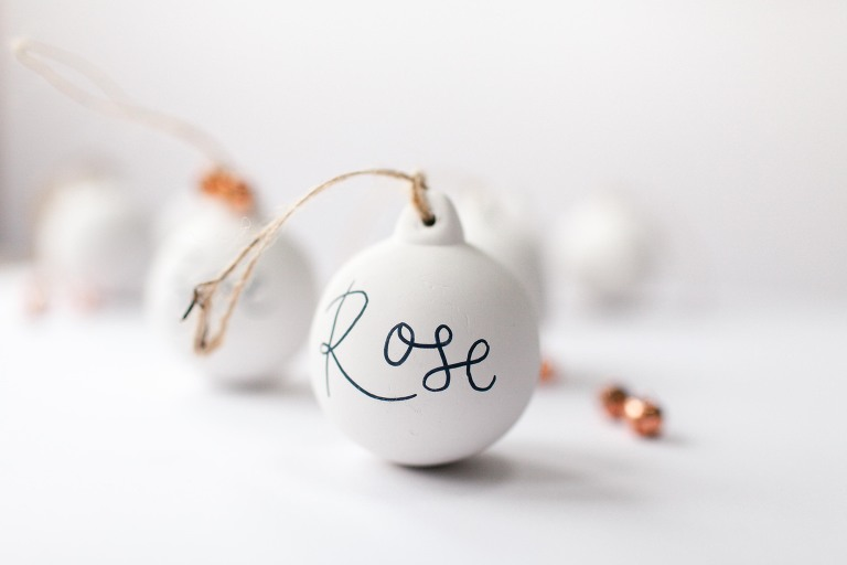 Hand painted white Christmas bauble decorations