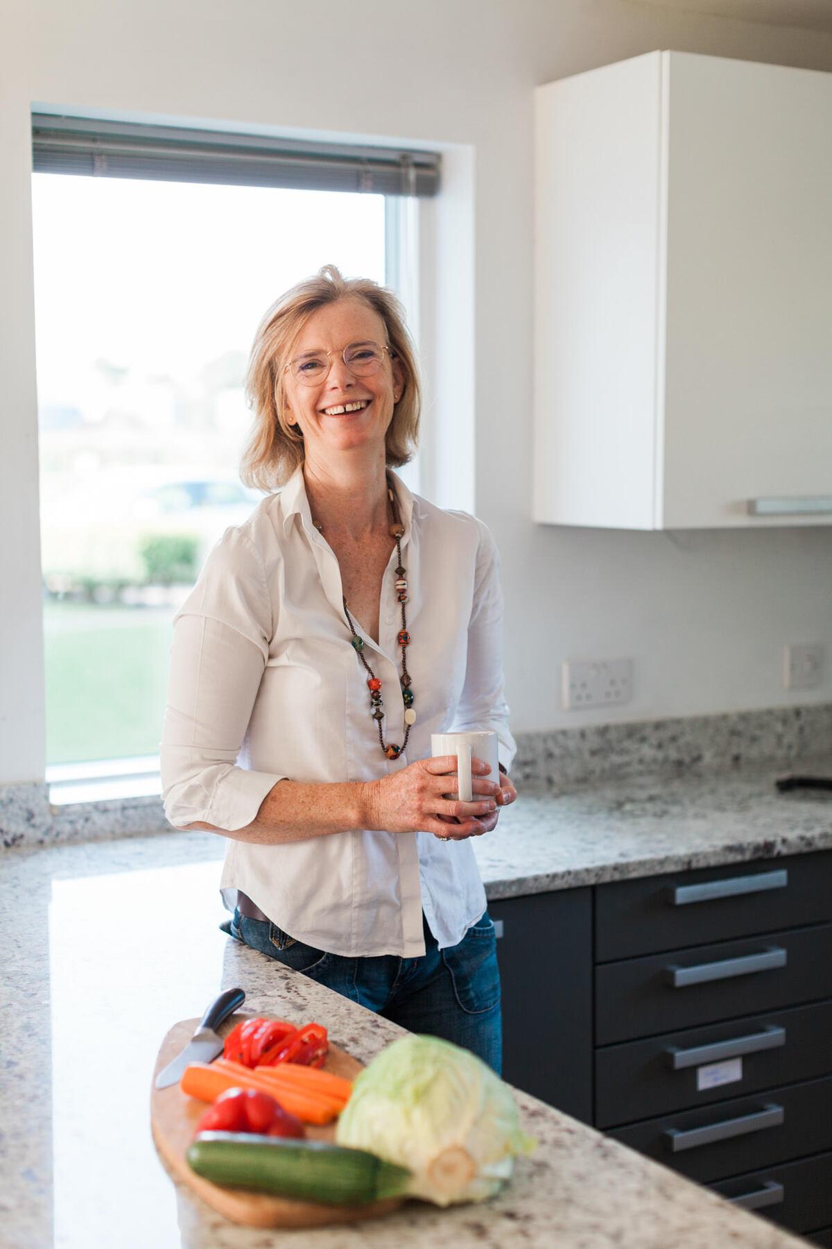 Branding shoot for female nutritionist in her kitchen